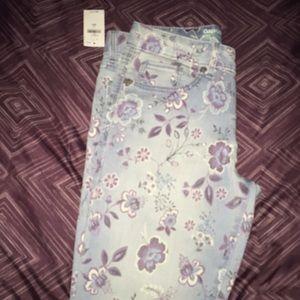 GAP kids, flower printed, blue jeans!!